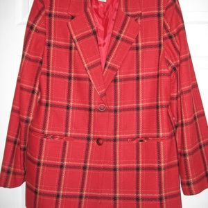 Women's Red Plaid Lined Blazer Size 12